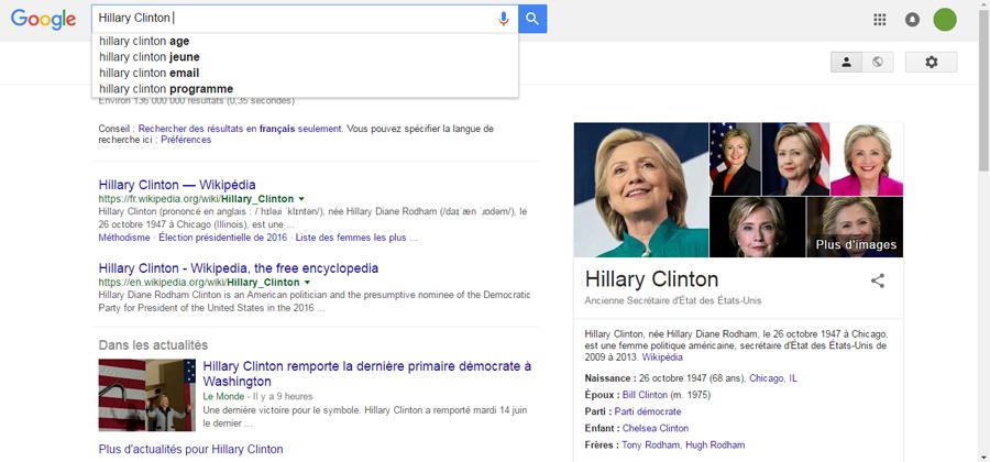 Hillary Clinton Google recherche