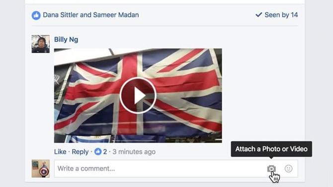 Vidéo en commentaire Facebook