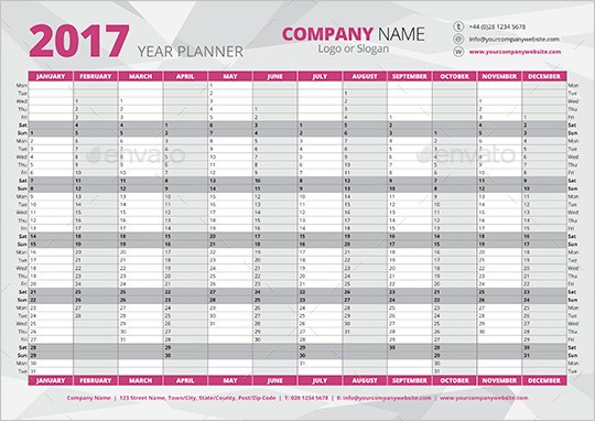 Calendrier 2017 eps