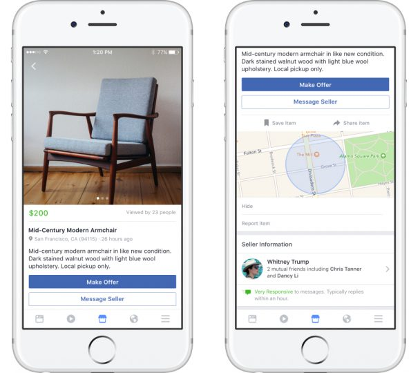 Facebook Marketplace sur mobile