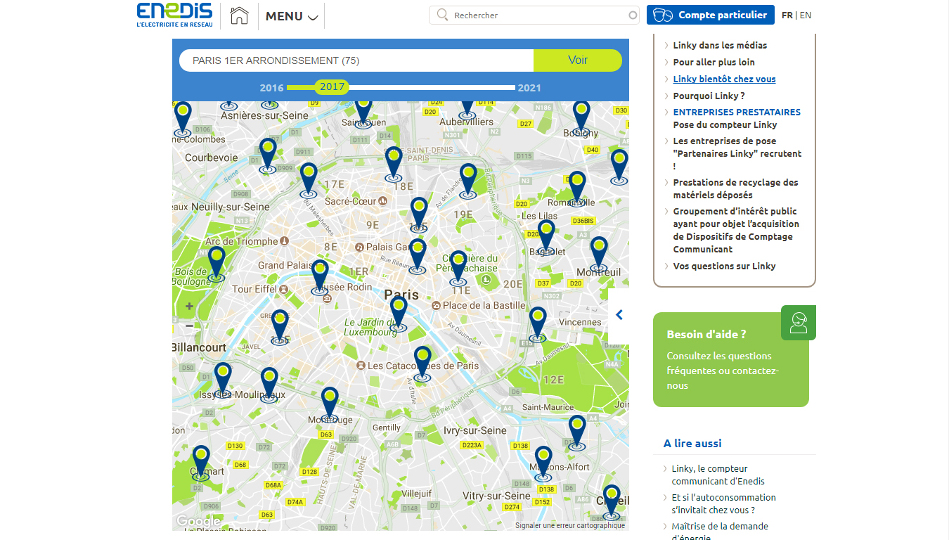 Carte de déploiement de Linky en France