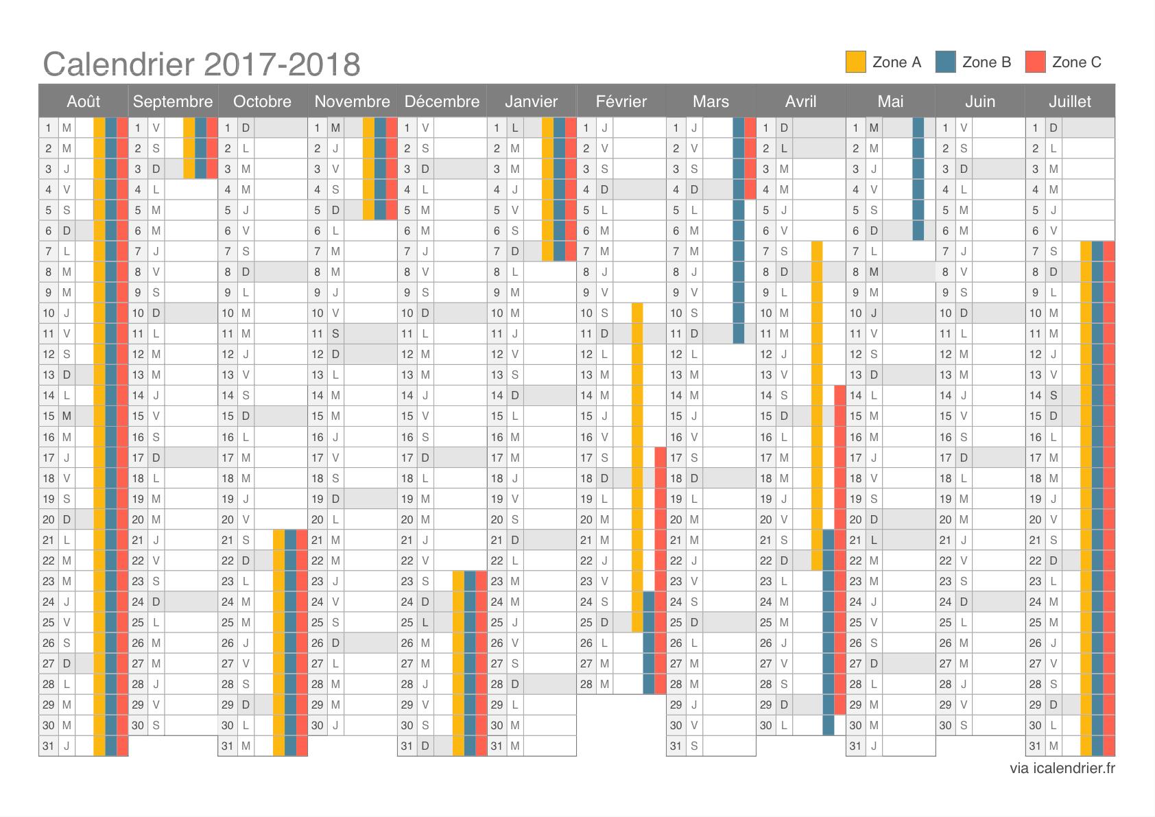 Calendrier scolaire 2018-2018